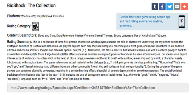Bioshock The Collection Esrb